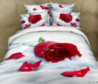 100% Cotton Woven Adult Wholesale - 2014 New 3d Red Rose bedding set Queen Size 4pcs unique floral bed sheet wedding quilt duvet cover bed linen cotton home textile