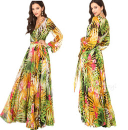 Wholesale 2014 Summer Tropical Forests Printed Chiffon Dress V Neck Long Sleeve Maxi Dress Beach Dress Women Prom Party Dress ZZD0547