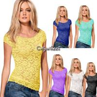 2014 estate Donna Top T-shirt T del bicchierino del merletto Tartaruga collo manica femminile sexy del merletto di base Blusas Crop feminias t shirt SV000686