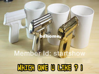 Wholesale Pieces Gun Mug Pistol Grip Cup Gun Handle Ceramic Coffee Mug Black White for you Choose
