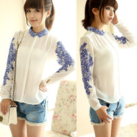 Wholesale Retro Women Long Sleeve Blue and White Porcelain Printed Chiffon Tops Blouse G0401