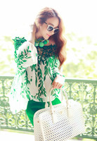 Wholesale 2014 Spring New European style Ladies Green leaf Long sleeve blouse lace patchwork chiffon High quality Women shirt G0446