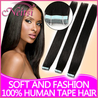 Wholesale Brazilian quot B Natural Black Tape Hair Extensions Remy Hair g Straight Brazilian Hair Weave Ombre Hair Human Hair Extensions