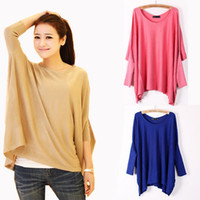 Women Polo Tops Details about Women Top Oversized Layering Tunic Knit Sweater Sleeve Free Size Batwing Coat US