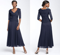 mother of the bride dresses tea length - 2014 A line chiffon summer beach mother of the bride dresses V neck half long sleeves tea length evening prom gowns BO5694