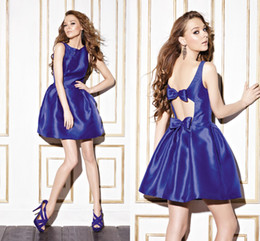 Wholesale 2014 simple fashion party dress ball gown crew appliques backless bow short mini satin homecoming prom gowns
