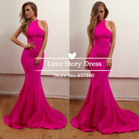 2014 fushcia high neck graduation dresses halter backless fl...