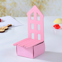 Wholesale 120pcs Chair Box Place Card Holder Wedding candy Favor Baby shower Party Boxed Pink Wedding Party