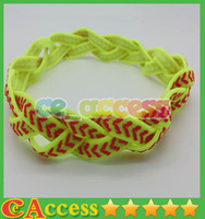 Wholesale Neon Yellow Stretchy NON SLIP Softball Basketball Volleyball Braided Headbands