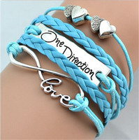 Wholesale 16 colors handmade black I love One Direction D infinity charm bracelets and bangles jewelry gift items for women and men