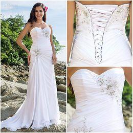 2019 new design white chiffon summer beach wedding dresses sweetheart beads ruffle lace-up sweep train backless sheath summer dress hot new