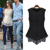 Wholesale Promotion New Fashion Women s Lace Blouse Sleeveless European American Sexy Tank Tops white plus size G0423