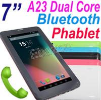 7 pouces A23 Dual Core 2G GSM phablet 86V Bluetooth Android 4.2 Tablet PC Avec Simple Emplacement pour carte SIM Wifi 4 Go RAM 512M double caméra Webcam