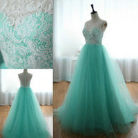 green wedding dress - 2014 Elegant Lace Tulle Mint Green Wedding Evening Beach Bridal Bachelorette Party Dresses Cheap Ball Gown Princess Prom Dance Gowns Hot New