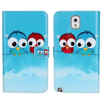 For Samsung Leather  Cartoon Owl Design Flip Leather Wallet Case Cover For Samsung Galaxy Note 3 III N9000 Mobile Phone Night Owl Pattern Pouch Holster Card Slot