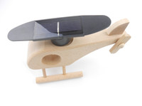 Wholesale Educational Solar Energy Powered Wooden Helicopter Toy Gadget Gift for Children Kids