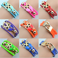 Wholesale 2014 new European and American Infinity Bracelets Fashion Owl Beaded Leather Bracelet Charm Bracelets and Bangles Jewelry for man and women