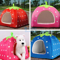 Wholesale NewHot Sell Soft Strawberry Pet Dog Cat Bed House Kennel Doggy Warm Cushion Basket Colors Sizes