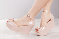Wholesale Wedges female sandals melissa jelly shoes bow platform open toe high heeled shoes