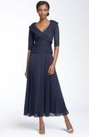 V-Neck mother of the bride dresses tea length - 2015 New Mother Of The Bride Dress V Neck Half Sleeve Chiffon Tea length Formal Evening Dress BO5694