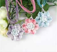 Wholesale Pink Blue Purple Lily Silk Chain Fashion Costume Jewelry Handmade Jewelry Pendant Necklace ZH1420