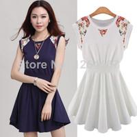 Casual Dresses Round Mini Size S-XL Plus Size 2014 Women Vestidos European Printed Lace Patchwork Sleeveless Elegance A-line Dress Color Blue White 45048D