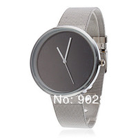 Men's Water Resistant Round Wholesale-2013 Fashion Metal Iron Net Mesh Band Quartz Wrist Watch Mens Boys Xmas Gift Q1003