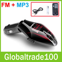 Wholesale Mini Rotatable LCD Car MP3 Player Wireless FM Transmitter support USB Disk TF card with Remote Control Blue red or green Light