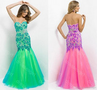Reference Images Sweetheart Organza 2014 New Arrival Pink Green Yellow Sequin Crystals Beaded Peacock Feather Tulle Mermaid Sexy Beach Evening Gowns Party Prom Dresses BL9722