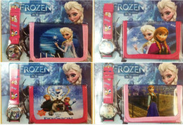 Wholesale 2014 new Frozen Anna Elsa Sets Watch And Wallet Purse Wrist Quartz Christmas Children Gift Boys Girls Cartoon Watches