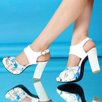 Wholesale 2014 Summer Sexy Fish Mouth Women s Sandals Thick High Heel High Waterproof Printing Rome Shoes