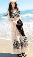 Casual Dresses U Neck Ankle Length 2014 Elegant Boho Bohemian Chiffon Pleated Summer Beach Long Maxi Dress Free Shipping [CW04338]