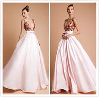 Rani Zakem Colorful Beads Deep V Neck A- Line Evening Dresses...