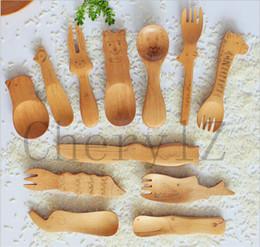 Wholesale Baby Feeding New Style Zakka Creative Animal Nature Healthy Kids Wooden Spoons Infant Spoon Teaspoon Tableware Cutlery Tools BB186