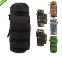 Men canvas water bag - Tactical Pattern Canteen Kettle Water Bottle Pouch Molle Molle Zipper Water Bottle Bag with Small Mess
