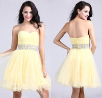 achat en gros de prom robe jaune bustier courte-Sexy 2015 Homecoming robes sweetheart Cocktail perles de cristal Parti Prom Mini A Line Short Tulle Jaune court
