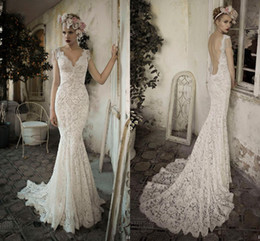 Gorgeous Lihi Hod vintage Lace bohemian Backless Wedding Dresses V neck Cap Sleeve Pearls Tassel Court Train Beach Bridal Party Gowns 2019