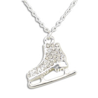 Wholesale a alloy silver plated white crystal ice skates pendant sport necklace