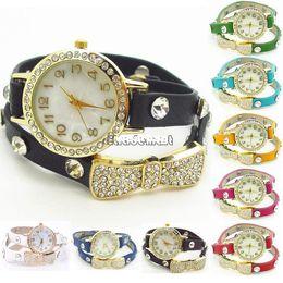 Wholesale-High Quality New Fashion Wrap Around Bracelet Watch Bowknot Crystal Women Leather Vintage Watches,Bracelet Wristwatches 19342