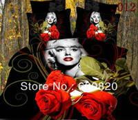 Polyester / Cotton Home Cotton DHL free Home Textile 3D printed duvet cover bed sheet Marilyn Monroe red rose flower antistatic bedding sets queen size 4pcs