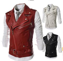 Wholesale Hot men s mens casual fashion zipper decoration sleeveless vest lapel leather vest jacket outerwear