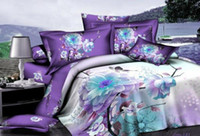 100% Cotton Woven Twill 3D Purple white blue floral bedding comforter set sets queen size bedspread duvet cover bed sheet sheets linen 100% cotton