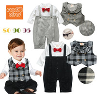 Spring / Autumn red bow tie - Retail Infants Baby Boy Gentleman One piece Romper With Plaid Stripe Vest Child Red Bow Tie Crawling Coveralls Suit Kids Bodysuits Jumpsuits