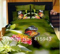 100% Cotton Twill Adult Cotton 100% Oil lnk 3d personality trend Bedding Set Flower butterfly bedding set brand bird print bedding king comforter