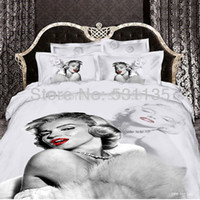 100% Cotton Woven Twill marilyn monroe 3D oil painting bedding set cotton 4pc king queen size duvet quilt comforters cover bedsheet cotton free shipping