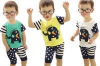 Wholesale 2014 Boys cartoon elephant clock sets children suit children set