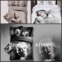 100% Cotton Woven Twill Promotion New Marilyn Monroe Luxury oil painting 3D Bedding sets Cotton Duvet Cover Bedspread 4pcs set bed in a bag