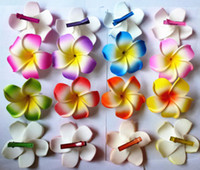 Wholesale 30 Large mixed color Plumeria Flower Hawaiian Frangipani Flower hair clip cm