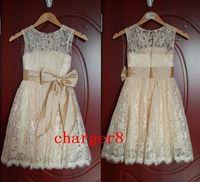 Wholesale 2014 hot white ivory Princess Lace Bow Trimmed Baby Girl Princess Flower Girl Dress Flower Girl Dress