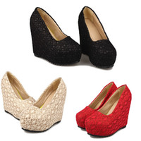 Wholesale New Sexy Fashion Women Shoes Pumps Wedding Shoes Wedges Glittering Lace Platform Sole Heeled Shoes Pumps Closed Toe SW044